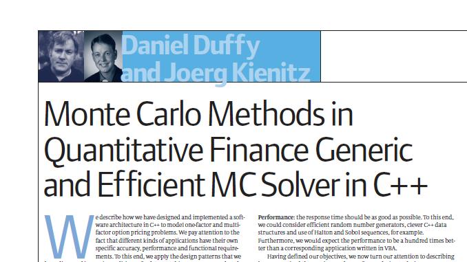 Monte Carlo Methods in Quantitative Finance Generic and